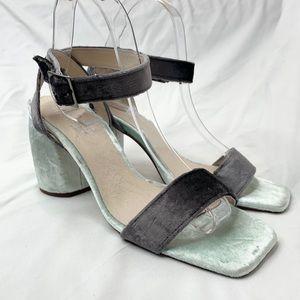 Midas Block Heel Sandals Blue Velvet Strappy